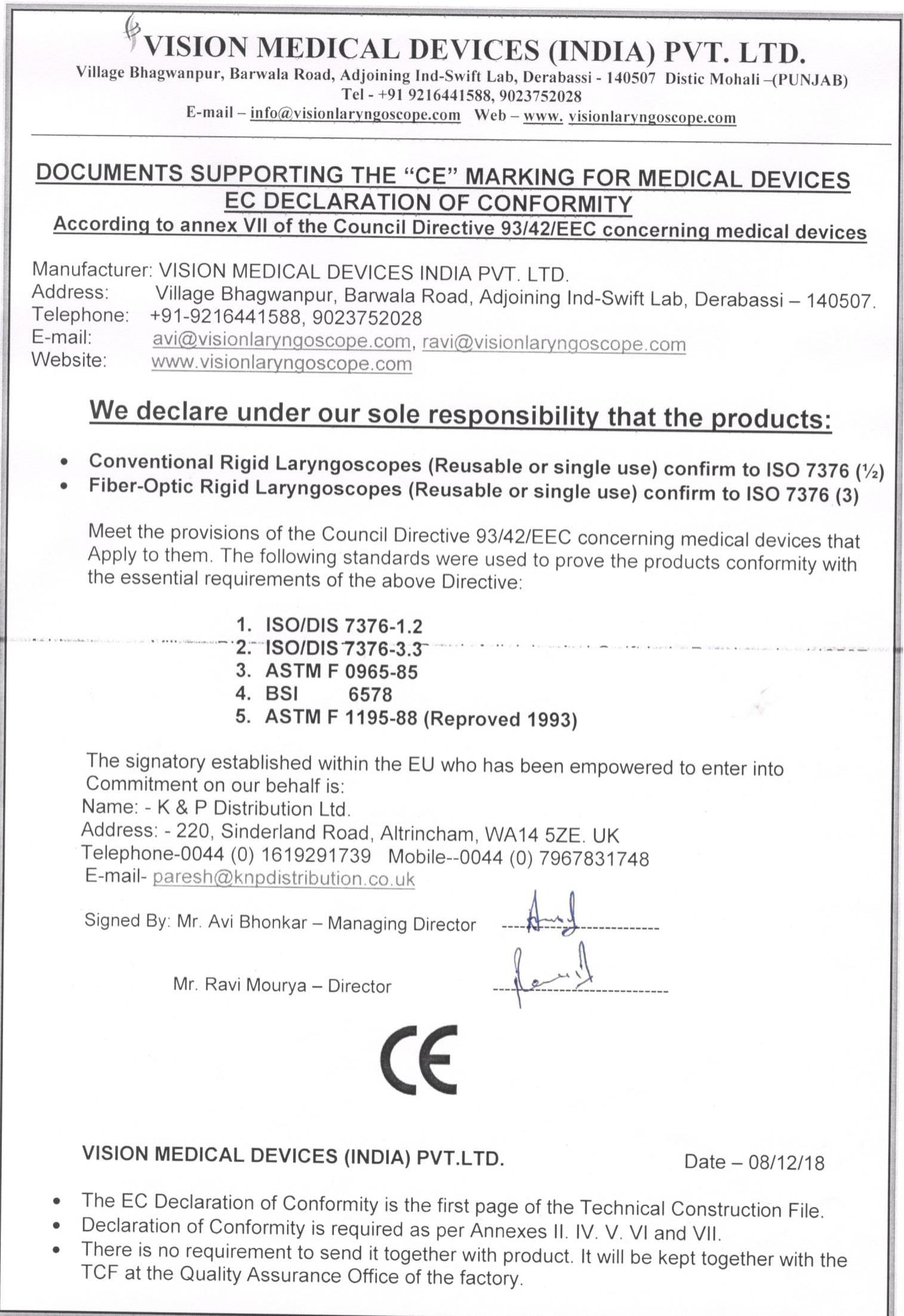 CE CERTIFICATE VISION-1